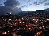 We had dinner at Cafe Mosaico in an old house high up on a hill overlooking Old Quito. The view from Cafe Mosaico is excellent. Here is a view of Old Quito and El Panecillo just after dusk as the lights came on.