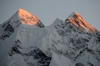 Gasherbrum II, Gasherbrum III North Faces At Sunset From Gasherbrum North Base Camp In China