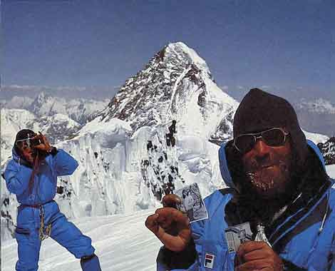 Reinhold Messner photographs Sher Khan and Nazir Sabir on Broad Peak Summit on August 2, 1982 with K2 in background - 3x8000 Mein grosses Himalaja-Jahr: Kangchendzoonga, Gasherbrum II, Broad Peak, Cho Oyu book