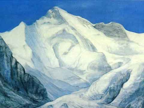 Cho Oyu painting by Luis Stecher - 3x8000 Mein grosses Himalaja-Jahr (Reinhold Messner) book