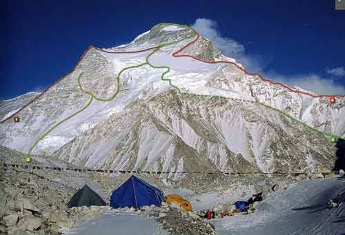 Cho Oyu Northwest Face With Climbing Routes: 1. Spanish-Austrian route 1996,  2. C. Strangl route 2001, 3. Austrian route of first ascent 1954,  4. Polish route 1986. - 8000 Metri Di Vita, 8000 Metres To Live For book