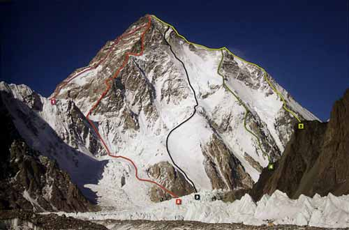K2 South and Southwest Faces And Climbing Routes: 1. Japanese/Pakistani route 1981, 2. Polish Route 1986, 3. Kukuczka-Piotrowski route 1986, 4. Cesen route 1986 to the shoulder, 5. Italian route 1954 Abruzzi Ridge. - 8000 Metri Di Vita, 8000 Metres To Live For book