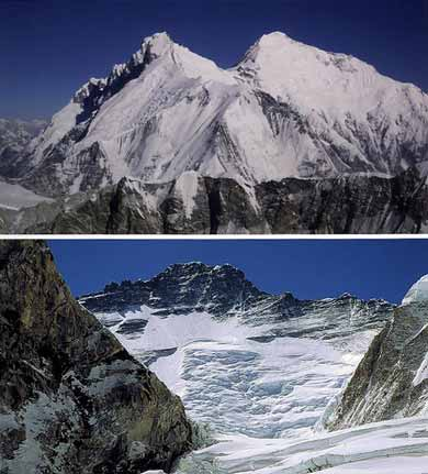 Top: Lhotse East face And Everest East Face from Makalu, Bottom: Lhotse West Face - 8000 Metri Di Vita, 8000 Metres To Live For book