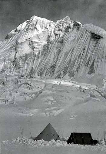 Cho Oyu Advanced Base Camp Under Nangpa La With Nangpai Gosum Behind - All Fourteen 8000ers (Reinhold Messner) book