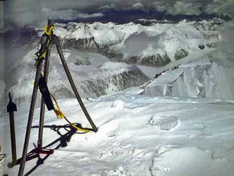 Reinhold Messner and Peter Habeler left a short length of rope and the camera batteries used to film their ascent without oxygen tied to the Chinese Everest summit tripod in 1978 - All Fourteen 8000ers (Reinhold Messner) book