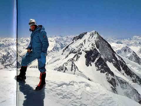 Hans Kammerlander On Gasherbrum II Summit June 25, 1984 With Gasherbrum I Behind - All Fourteen 8000ers (Reinhold Messner) book