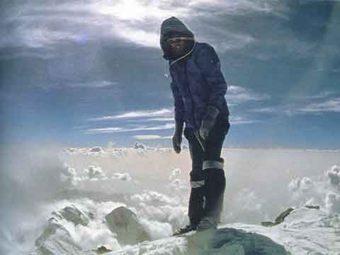 Reinhold Messner on the summit of Nanga Parbat August 9, 1978 after completing his solo ascent - All Fourteen 8000ers (Reinhold Messner) book