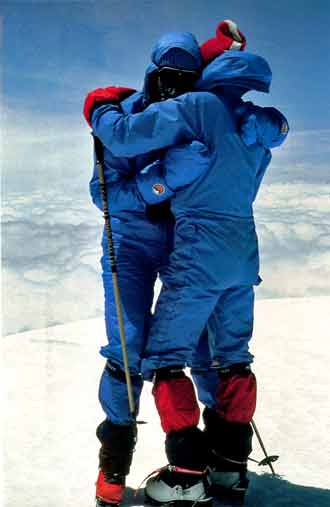 Reinhold Messner and Hans Kammerlander on Cho Oyu Summit May 5 1983 - All Fourteen 8000ers (Reinhold Messner) book