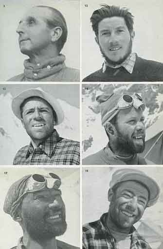 The main players in the first ascent of K2 in 1954: Ardito Desio, Walter Bonatti, Achille Compagnoni, Lino Lacedelli, Mahdi, Mario Puchoz - Ascent Of K2: Second Highest Peak In The World book