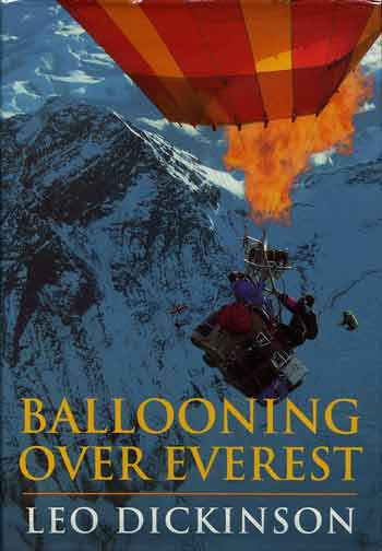 Andy Elson and Eric Jones in the first balloon with the towering Everest Southwest Face - Ballooning Over Everest book cover