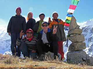 Jerome Ryan and Guide Gyan Tamang and crew at Pangpema in front of Kangchenjunga North Face