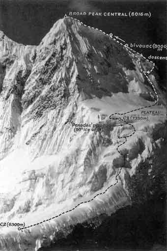 Broad Peak First Ascent Central Summit From Chinese Side 1992 Route - alpinejournal.org.uk - photo by Kurt Diemberger