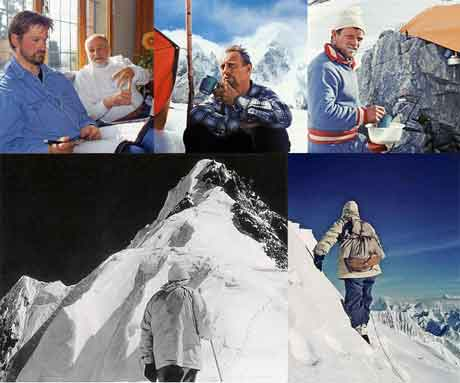 Jochen Hemmleb and Kurt Diemberger 2006, Marcus Schmuck 1957, Fritz Wintersteller 1957, Hermann Buhl stares up at the Broad Peak forepeak with the summit to the left on June 9, 1957, Hermann Buhl On Chogolisa - Broad Peak Traum Und Albtraum book