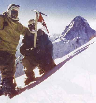 Broad Peak First Ascent - Fritz Wintersteller and Marcus Schmuck on Broad Peak Summit June 9, 1957 with K2 in background - Broad Peak book