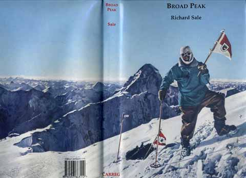 Broad Peak First Ascent - Marcus Schmuck on Broad Peak Summit June 9, 1957 with K2 in background - Broad Peak book cover