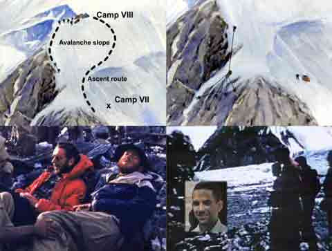 1953 K2 American Expedition - Dee Molenaar illustrations Showing Descent from Camp 8 to Camp 7 And the Famous Belay By Pete Schoening, Exhausted Bab Bates And Charlie Houston after descending to base camp, Art Gilkey Menorial - Brotherhood of the Rope DVD