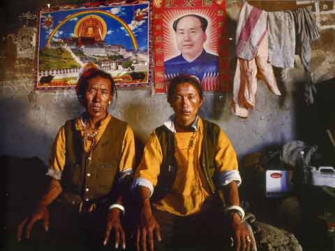 Father And Son With Posters Of Mao And Potala Palace And Jowo Shakyamuni - Buddhism: Eight Steps To Happiness by Dieter Glogowski book