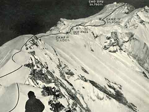 Cho Oyu First Ascent Route - Cho Oyu by Herbert Tichy book