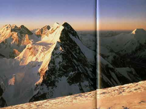 Gasherbrum peaks, Broad Peak, Chogolisa Sunrise From K2 - Climbing The Worlds 14 Highest Mountains book