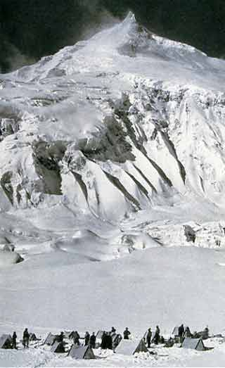 Camp V below the Snow Apron and the East Pinnacle during the fist ascent in 1956 - Climbing The Worlds 14 Highest Mountains book