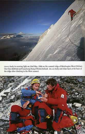Top: Andy Fanshawe on the summit ridge on First Ascent of Menlungtse West on May 23, 1988. Bottom: Alan Hinkes and Andy Fanshawe after their First Ascent of Menlungtse West - Coming Through Expeditions To Chogolisa And Menlungtse book