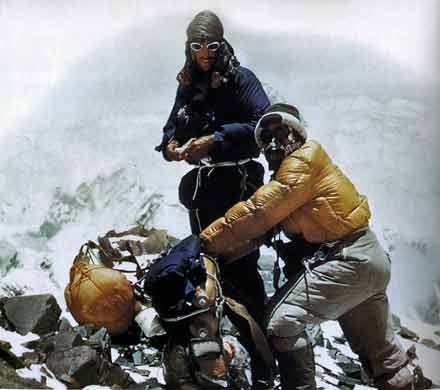 Everest First Ascent - Edmund Hillary and Tenzing Norgay on the Everest Southeast Ridge at 8320m on their way to Camp IX on May 28, 1953