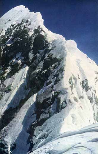Everest First Ascent - Sir Edmund Hillary's photo of the Everest summit ridge, including the Hillary Step, from the Everest South Summit on May 29, 1953