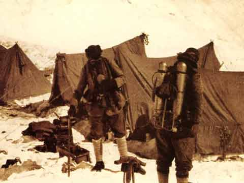 The last photo of George Mallory and Sandy Irvine, as they prepare to leave the North Col on June 6, 1924 for Everest summit attempt