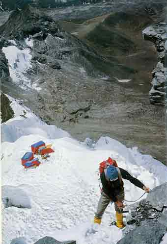 Climbing Lhotse South Face above camp 1 in 1975 - G I und G II: Herausforderung Gasherbrum (Reonhold Messner) book