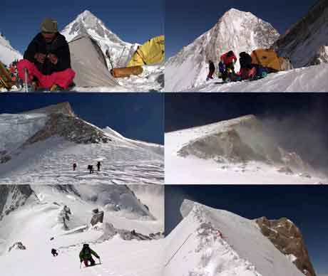 Pemba Sherpa At Camp 2 With Gasherbrum I, Gasherbrum IV From Camp 2, Climbing To Camp 4, Gasherbrum II From Camp 4, Pemba Sherpa Climbing Final Ridge To Gasherbrum II Summit - Gasherbrum 2 Video By Ludo Challeat