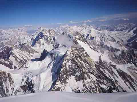 Rob Hall Photo Of Gasherbrums And Broad Peak From K2 Summit July 9, 1994 - Hall and Ball book