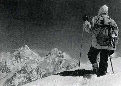 One of the last photos of Hermann Buhl attempting to climb Chogolisa on June 26, 1957. To the left is K2 and in the centre is Broad Peak. - Hermann Buhl Climbing Without Compromise book