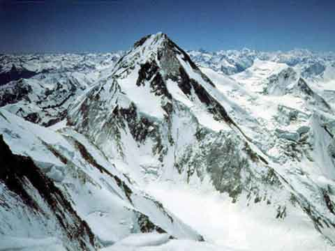 Click to enlarge - Gasherbrum I Northwest Face From Gasherbrum IV - Himalaya Alpine Style: The Most Challenging Routes on the Highest Peaks book