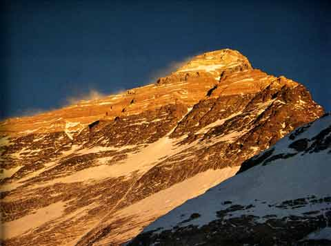 Mount Everest North Face at sunset from West Shoulder- Himalaya Alpine Style: The Most Challenging Routes on the Highest Peaks book