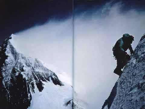 Rob Hall took this photo of Ed Viesturs approaching the precarious wafer-thin summit of Lhotse on May 16, 1994, with Everest behind - Himalayan Quest: Ed Viesturs on the 8,000-Meter Giants book