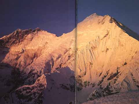 Lhotse East Face and Everest Kangshung East Face at sunrise in 1988 - Himalayan Quest: Ed Viesturs on the 8,000-Meter Giants book