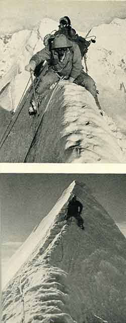 Jannu First Ascent - Top: On The final ridge to Jannu Summit. Bottom: Four metres from the Jannu Summit. - At Grips With Jannu book