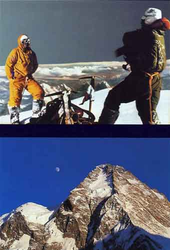 Top: K2 First Ascent - Lino Lacedelli And Achille Compagnoni On K2 Summit July 30 1954. Bottom: K2 North Face - K2: Challenging the Sky book back cover
