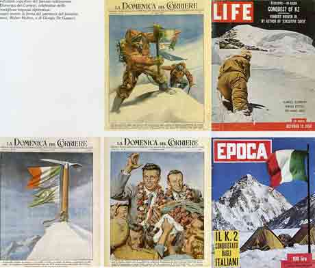 Magazine Covers On K2 First Ascent - La Domenica deal Carriere, Life, Epoca - K2: Conquista Italiana: Tra Storia E Memoria book cover