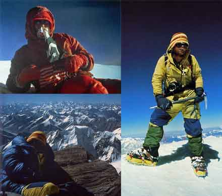 K2 Northeast Ridge First Ascent - Upper left: Lou Reichardt on K2 summit September 6 1978. Lower left: Rick Ridgeway on K2 summit September 7 1978. Right: John Roskelley on K2 summit September 7 1978.