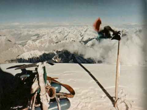 First ascent of K2: K2 Summit Showing Oxygen Bottles July 30, 1954 - K2: The Price of Conquest book