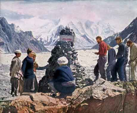 1953 American K2 Expedition built the Art Gilkey funeral cairn At K2 Base Camp - K2: The Savage Mountain book