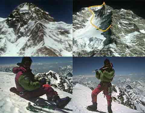 K2 North Ridge From Base Camp, Route From Camp 4 To K2 Summit, Jose Carlos Tamayo and Sebastian de la Cruz On K2 Summit July 30, 1994 - K2 y Makalu Al Filo De Lo Imposible DVD