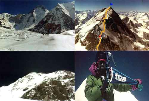 Gasherbrum I And Climbing Route, Summit Area, Inaki Ochoa de Olza On Gasherbrum I Summit July 10, 1996 - Karakorum (Al Filo de lo Imposible) DVD
