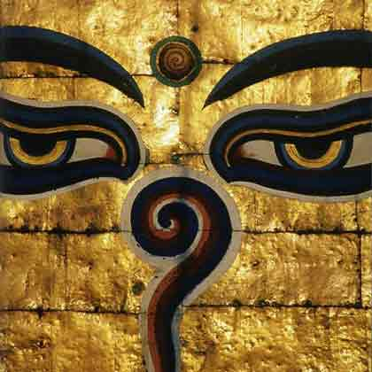 Buddha's golden eyes lord over Swayambhunath  - Kathmandu: Citiescape (Lonely Planet)