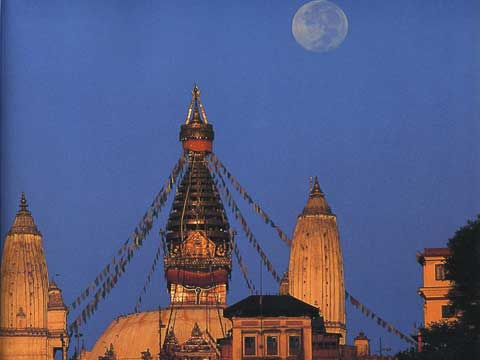 Full Moon Over Swayambhunath - The Kathmandu Valley book