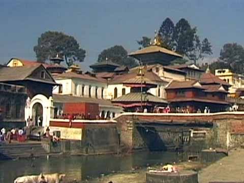 Pashupatinath Hindu temple complex in Kathmandu - The Three Royal Cities Of Nepal DVD