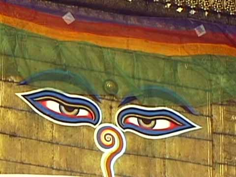 Swayambhunath Monkey Temple Buddha eyes in Kathmandu - The Three Royal Cities Of Nepal DVD