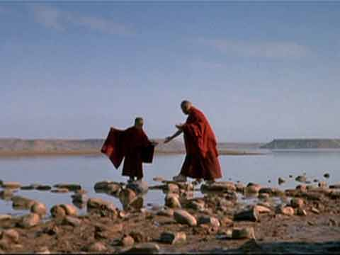 May I be a bridge, a boat, a ship for all who wish to cross the water - Young Dalai Lama and monk - Kundun DVD