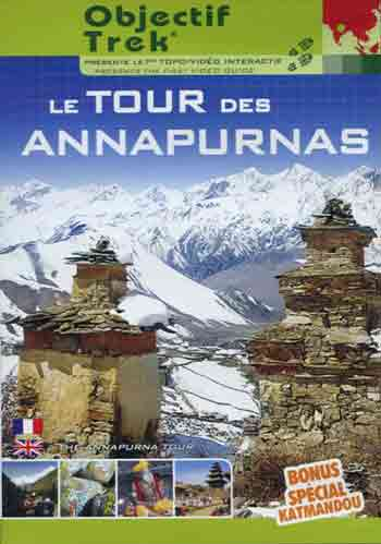 Stupas at Muktinath and mountains to the west on the Annapurna Circuit - Le Tour des Annapurnas DVD cover